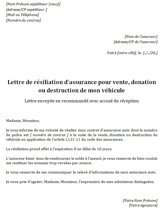 lettre-resiliation-assurance-auto-vente