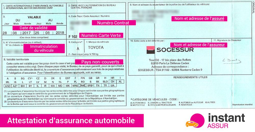attestation d'assurance auto (carte verte)